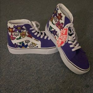 Vans Sk8-Hi Purple Glitter Flower Sneakers